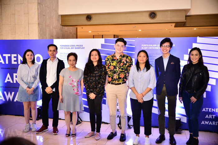 From L-R: Sabrina Jeongco, Juan Paolo Colet, Dr. Wally Ledesma, Alec Madelene Abarro, Jayvee Del Rosario, Mary Jessel Duque, Jose Carlos Joaquin Singson, and Maria Lourdes Garcellano; Photo courtesy of the Ateneo Art Gallery